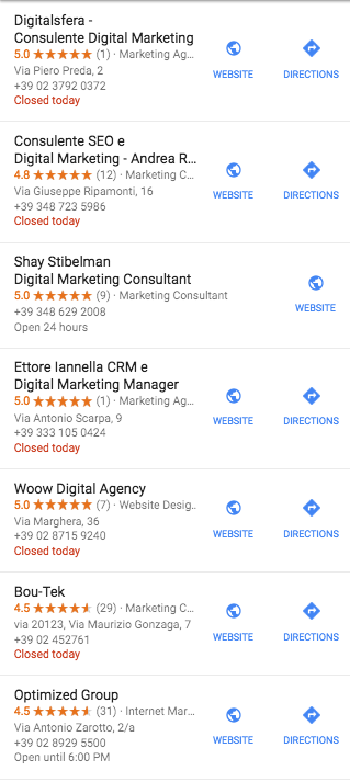 Google My Business competitor list