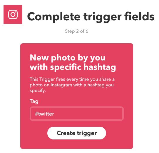 IFTTT Twitter hashtag