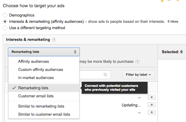 AdWords - attaching a remarketing nlist to the campaign