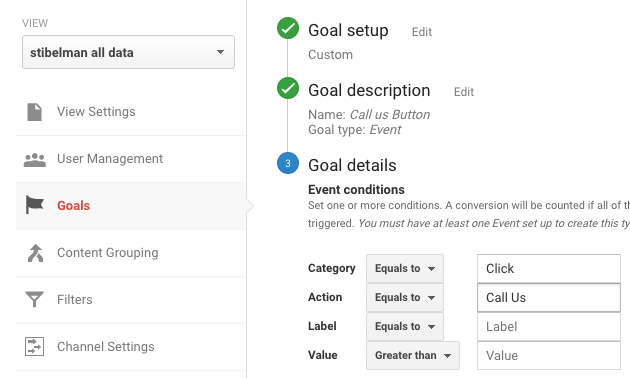 Collecting the event details as a Conversion Goal in Google Analytics.